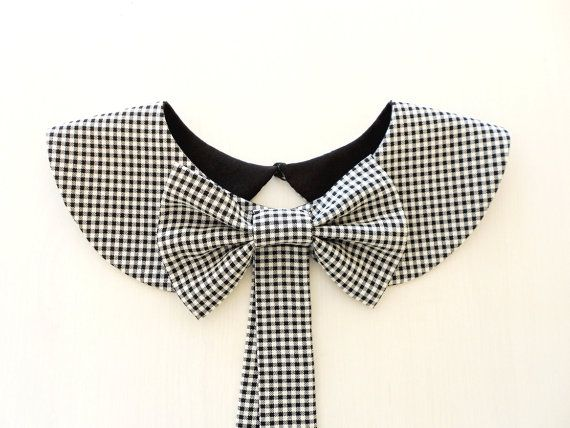 Plaid Collar Necklace with Detachable Bow Brooch / Black and White Checked Handmade Peter Pan Collar