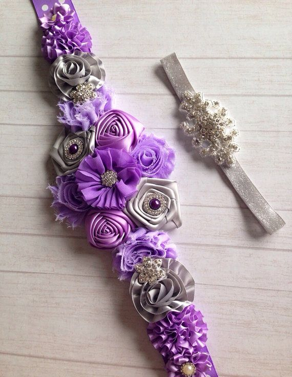 Pregnancy sash , pregnancy belt , flower belly belt , lavender and silver , on Etsy, $27.00