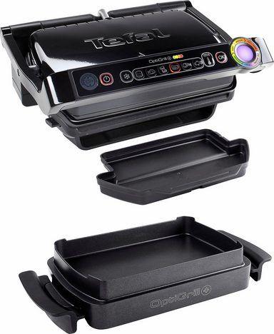 Tefal Elektrogrill GC7148 Optigrill+ Snacking & Baking, 6 voreingestellte Grillprogramme, 2000 W