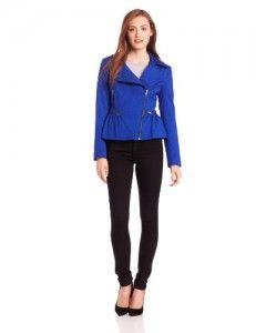 Coats women  Helene Berman Women's Textured Peplum Biker Jacket, Cobalt, Large Discount !!!