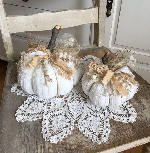 Sweater Pumpkins set of 2 White fabric by TatteredTreasures1