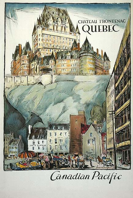Canadian-Pacific poster (1936) for the Hotel Chateau Frontenac