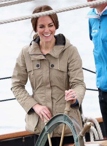 Kate Middleton Photos Photos - Catherine, Duchess of Cambridge helms the tall ship Pacific Grace in Victoria Harbour on the final day of their Royal Tour of Canada on October 1, 2016 in Victoria, Canada. The Royal couple along with their Children Prince George of Cambridge and Princess Charlotte are visiting Canada as part of an eight day visit to the country taking in areas such as Bella Bella, Whitehorse and Kelowna - 2016 Royal Tour To Canada Of The Duke And Duchess Of Cambridge…