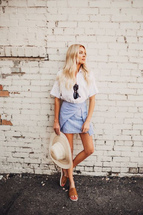summer outfit, straw hat + white top