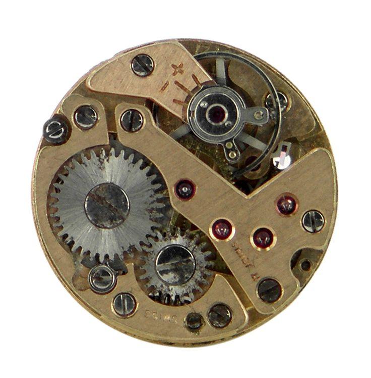 Gold swiss watch movement lapel pin