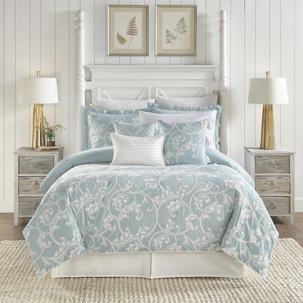 The Willa 4 Piece Comforter Set is color-saturated fun! The comforter and pillow shams feature a stunning ivory scroll pattern densely embroidered on a robin egg blue ground. An ivory bed skirt completes the look!