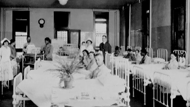 The south side of Ellis Island featured a public health hospital where about 10 percent of immigrants would have to go for further medical inspection. The Ellis Island hospital was also the birthplace of 355 babies.