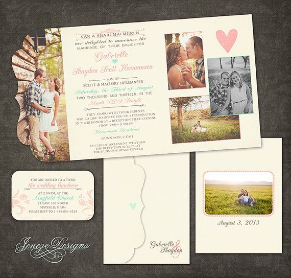 wedding invitation boutique tri folded photo design pink and mint wedding unique wedding invites photo wedding invites
