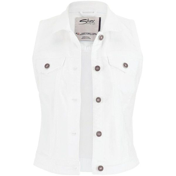 maurices Silver Jeans ® White Denim Vest (830 CZK) ❤ liked on Polyvore featuring outerwear, vests, jackets, tops, white, white waistcoat, silver vest, denim vest, vest waistcoat and denim waistcoat