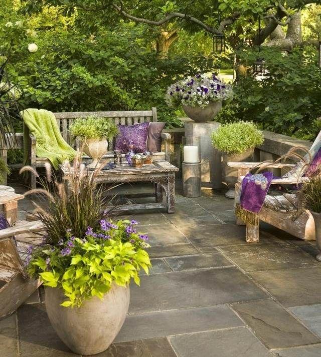 12 best Idee Terrasse images on Pinterest Decks, Backyard patio - banc en pierre pour jardin