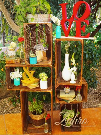 Set de huacales huacales pinterest - Ideas para decorar mi jardin ...