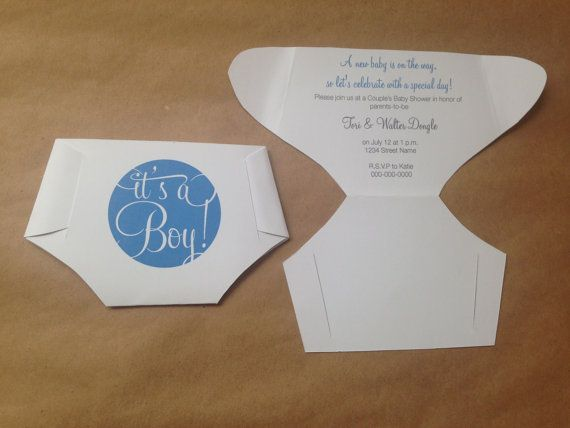 DIY Folded Diaper Baby Shower Invitation Template With Instructions   Blue  Itu0027s A Boy Version