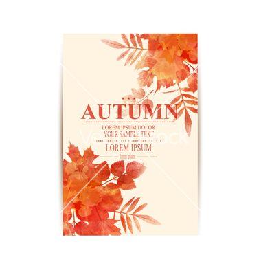 Autumn background with orange leaves imitation of vector