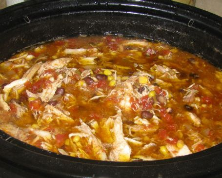 Slow Cooker Santa Fe Chicken Soup Recipe  One whole roasting chicken  1 15 oz. can diced tomatoes with green chilies  2 15 oz. can diced tomatoes  1 15 oz. can black beans (reduced sodium)  About 2 cups chicken broth  1 small chopped onion (about 1/2 cup)  3 tbsp. chopped cilantro  1 tsp. garlic powder  1 tsp. cumin powder  1 tsp. cayenne pepper (optional, of course!)  Salt and pepper to taste