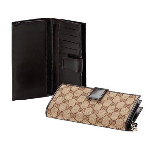 Gucci Continentale Portafoglio Con Blocco Fascino G Marrone 2330 GI588