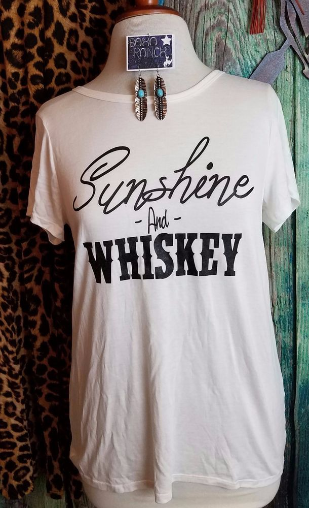 COWGIRL GYPSY IVORY SUNSHINE & WHISKEY BALLARD SONG  TEE shirt Western LARGE #Unbranded #TEE