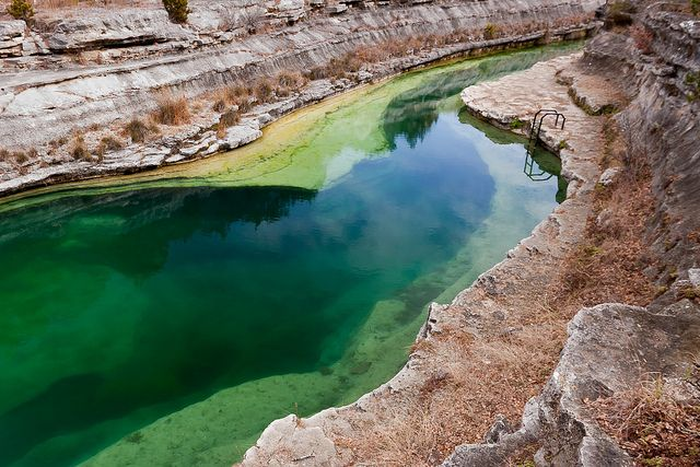 Blue Hole in Leakey, Texas -You can only get to this Blue Hole by staying overnight at Running River Ranch, then hike or ride your mountain bike about a mile to it, take a steep set of stair down and traverse the stream several yards....whew! It is worth it!