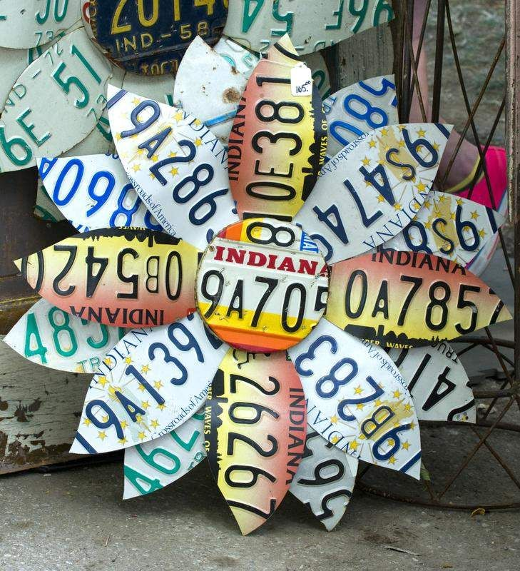 More garden art.  We have lots of those old license plates that need to be recycled.