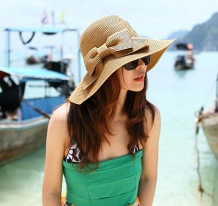 Двухместный бантом большой краев шляпа летом милая девушка пляжный отдых соломенные шляпы для женщин летний стиль шляпа 2015 горячая распродажа