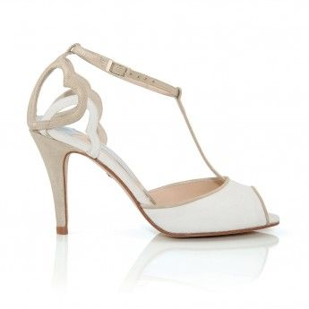 wedding shoes bridal footwear charlotte mills T-bar peep toe sandal with layered hearts