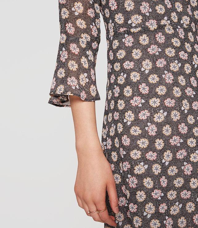 LOFT Bloom Ruffle Cuff Dress in whisper white