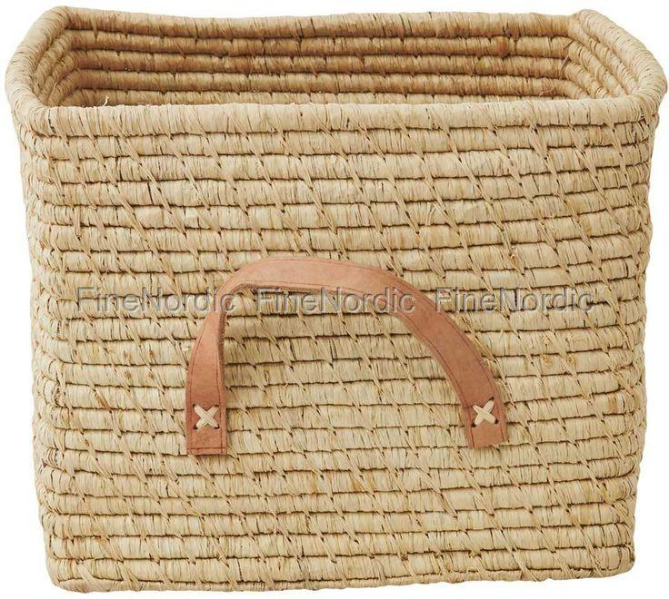 Raffia Korb - Small Square Raffia Basket with Leather Handles - Natural, von Rice.