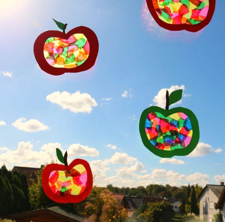 DIY, Kids- Basteln im Herbst, Apfelfensterbild