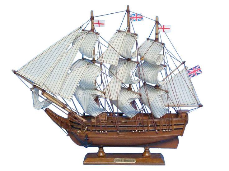 "Wooden Charles Darwin's HMS Beagle Model Ship 14"""