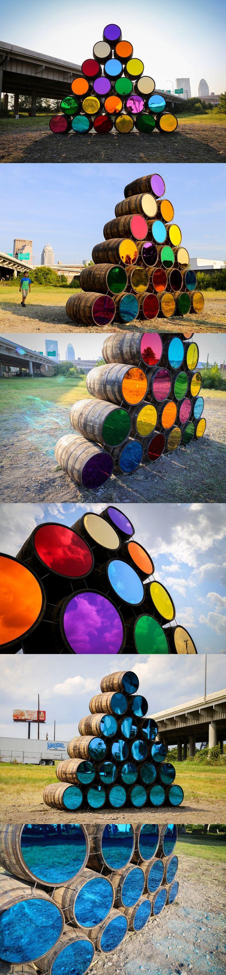 mark reigelman reflects louisville's landscape on oak barrels