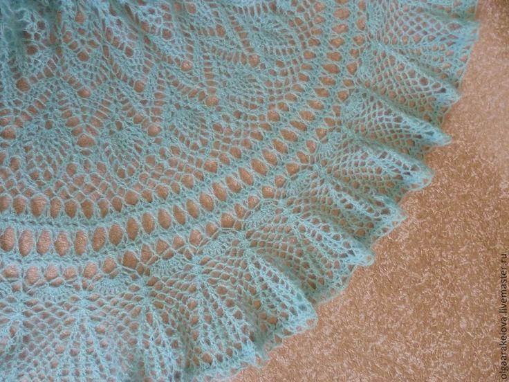 Купить Вязаная юбка-солнце мятная из мохера - мятный, ажурная юбка из мохера