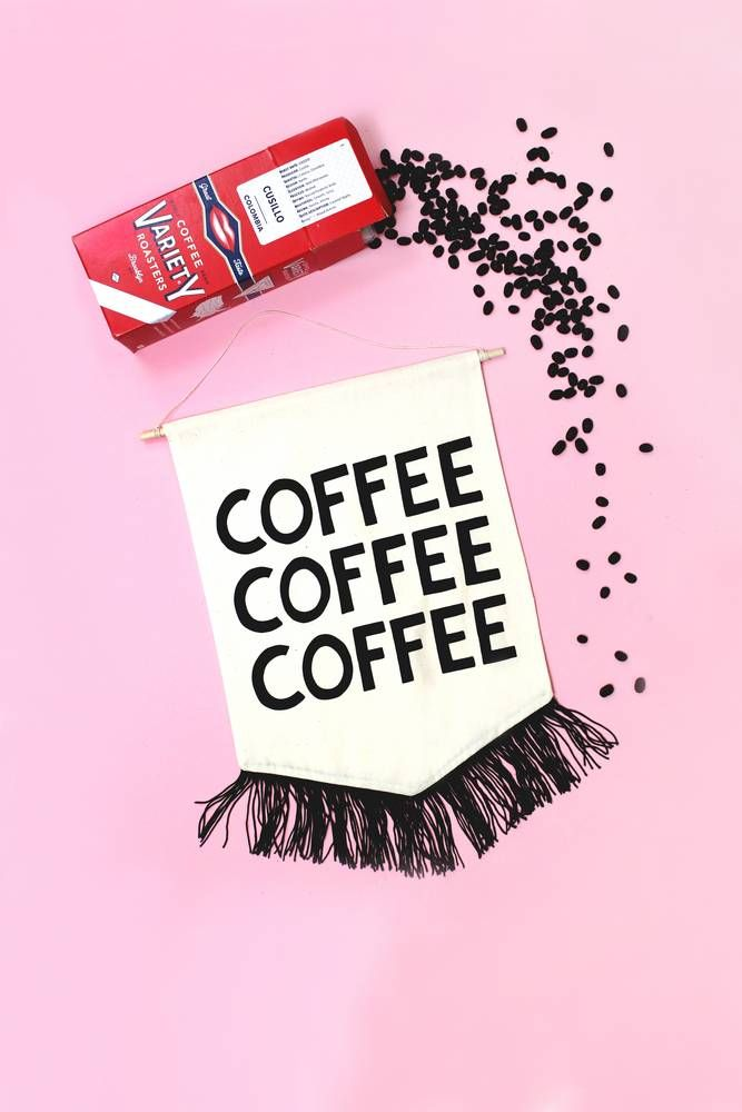 "<div><span style=""font-family: Calibri; font-size: 110%;"">COFFEE COFFEE COFFEE! We like our coffee, how bout you? This black printed banner with fringe makes the perfect kitchen accessory.</span></div><div><br></div><div><span style=""font-family: Calibri; font-size: 110%;"">Made in the U.S.A.</span></div><div><br></div><div><span style=&..."