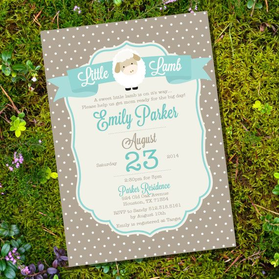 (Not our color, but....) Little Lamb Baby Shower Invitation - Lamb Baby Shower - Instant Download + Editable File - Personalize with Adobe Reader