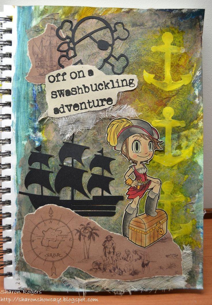 http://sharonshowcase.blogspot.com, Mixed Media, Journalling, Silhouette, Stencil, Ink Spray, Paint, Pirate, Some Odd Girl, Skull, Ship, Handmade