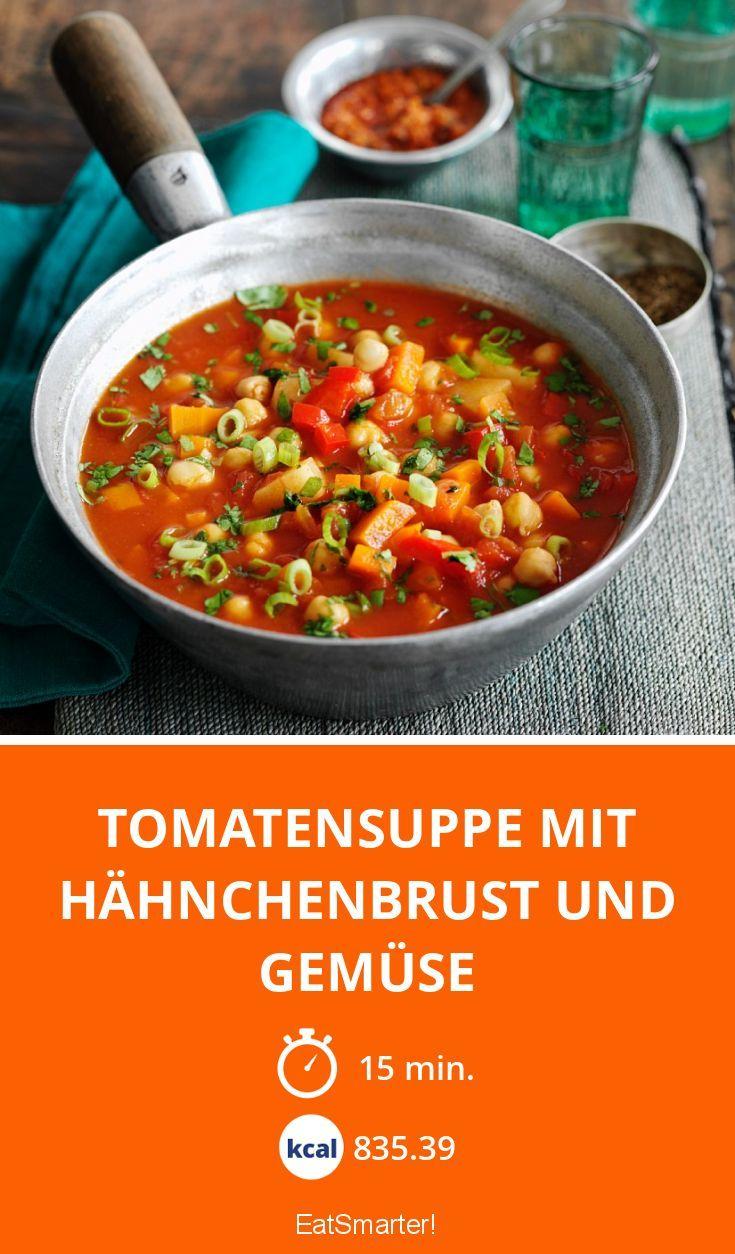 Tomatensuppe mit Hähnchenbrust und Gemüse - smarter - Zeit: 15 Min. | eatsmarter.de Ohne die Kartoffeln Slow-Carb