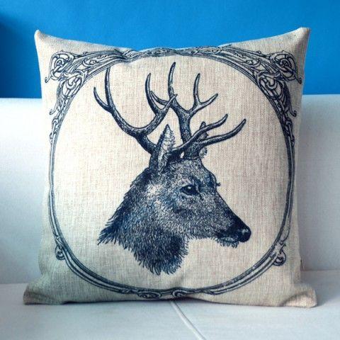 Retro deer decoration pillows for couch cheap linen sofa cushions