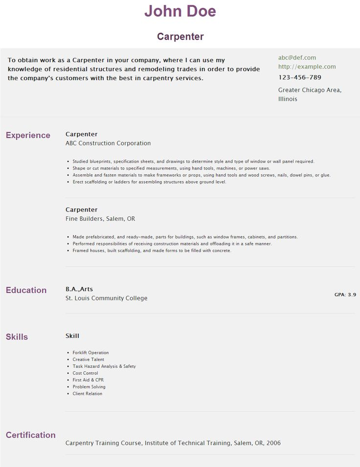 40 best HipCv Resume Examples images on Pinterest Author - carpentry resume sample
