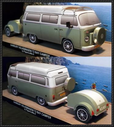 This vehicle paper model is a Volkswagen Type 2 Danbury Camper Van, created by papercraft.it, and the scale is in 1:35. There are other VW T2 paper models