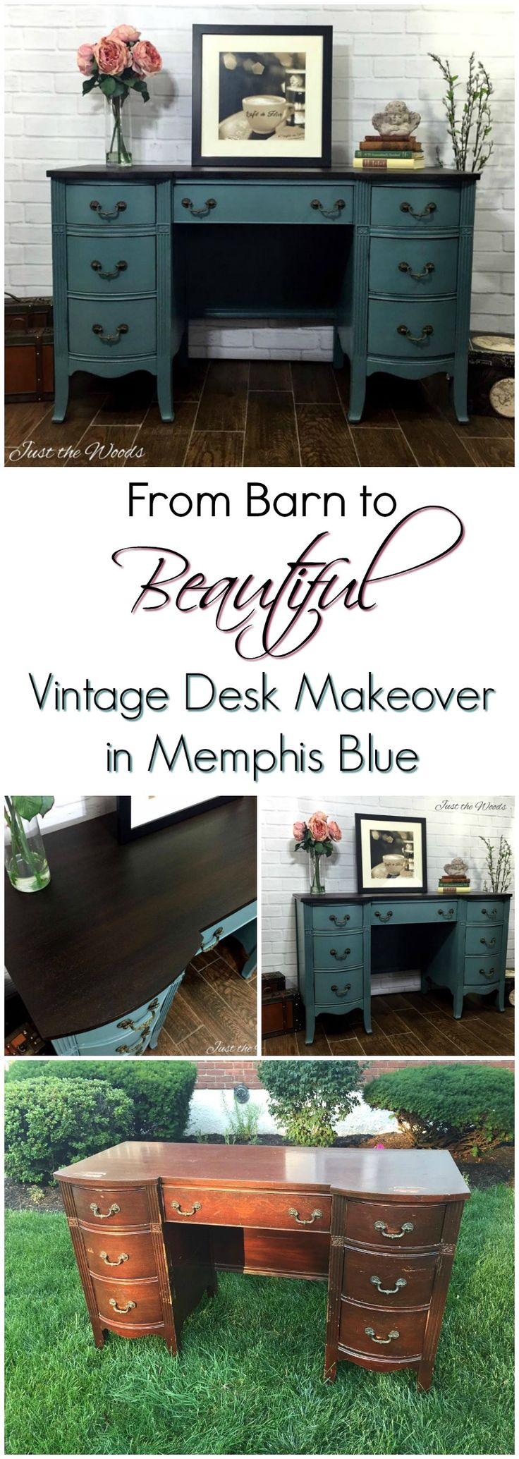 Vintage Desk rescued from old barn has been hand painted memphis blue with…