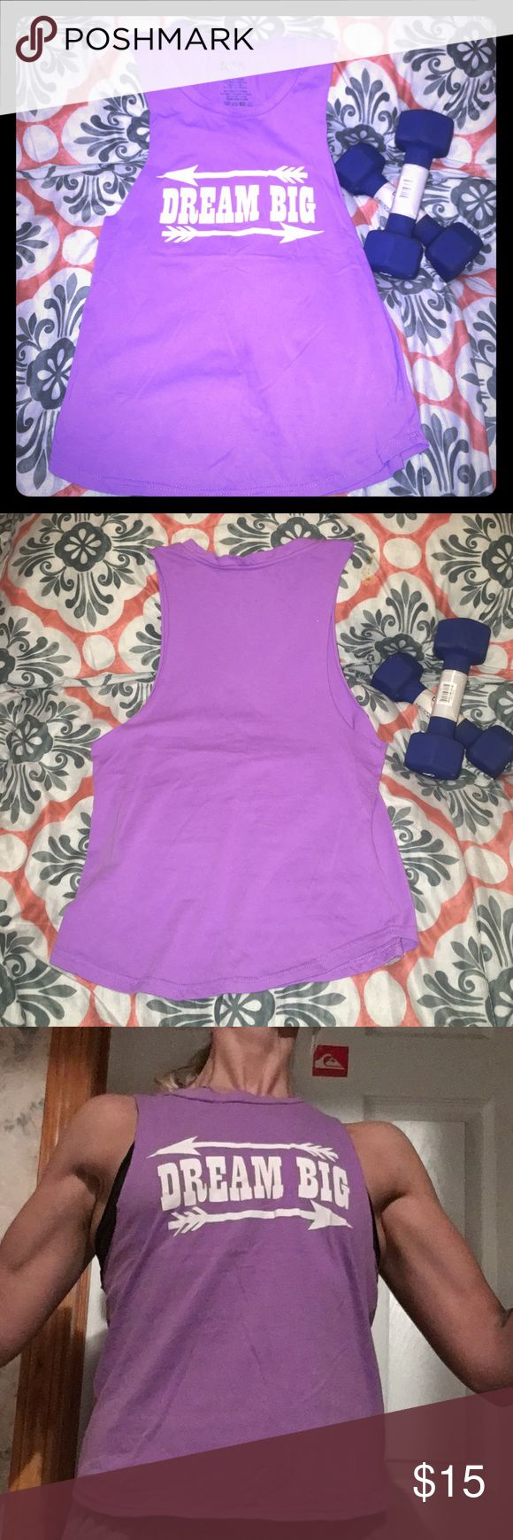 """NWOT """"Dream Big"""" Muscle / Workout Tank Size Small This tank is awesome for showing off your guns or side tattoos! I bought this for a photo shoot but it didn't match the scene. Never worn. Everything must go make an offer. Tops Tank Tops"""