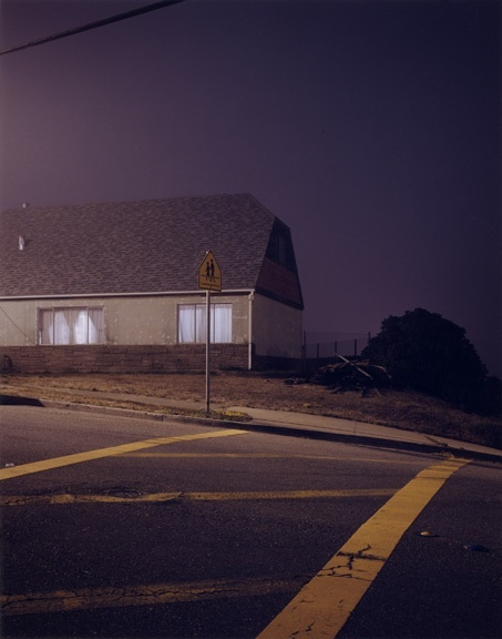 Todd Hido prowls around suburban neighborhoods under the cover of darkness, taking 4-10 minute long exposures to capture his particular brand of image. http://www.toddhido.com/