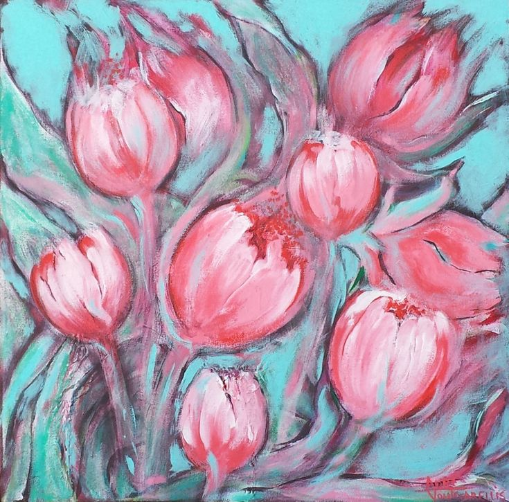 Art: 'Pink Abstract Flowers' Original painting in acrylics on stretched canvas #Abstract