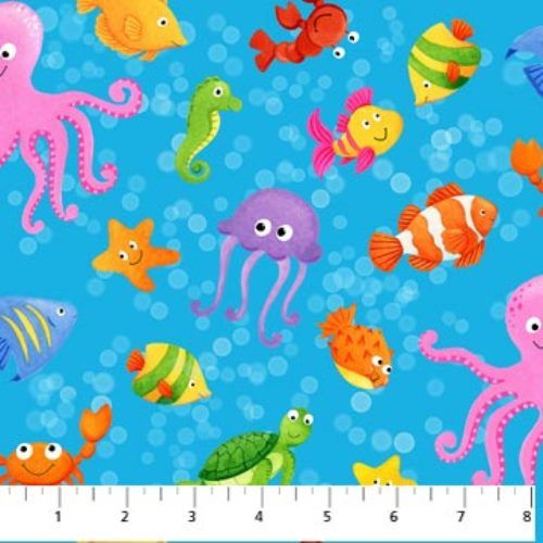 For Little Ones : Little Mermaids Sea Creatures Octopus FIsh Fabric