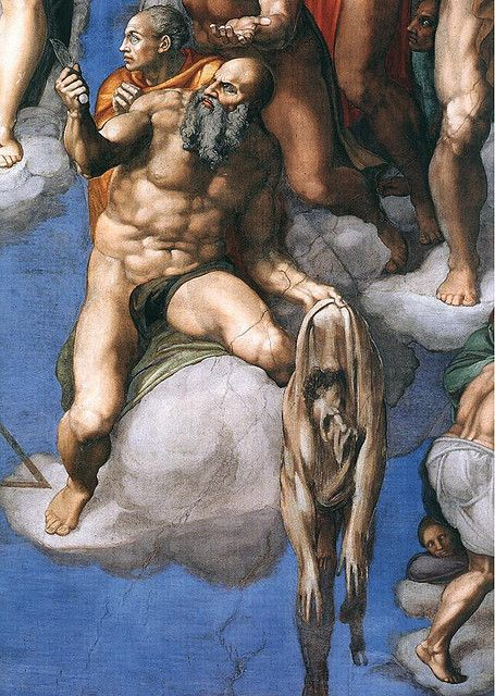 St Bartholomew displaying his flayed skin (considered by many art historians as a self-portrait by Michelangelo) in The Last Judgment.