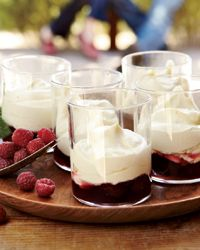 Vanilla Zabaglione with Raspberries -  The ethereal Italian dessert sauce zabaglione (known in French as sabayon) consists of egg yolks beaten with sugar and the Sicilian fortified dessert wine Marsala. Steeping vanilla seeds in the Marsala adds lovely flavor; folding in whipped cream increases the decadence factor.