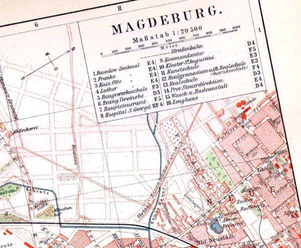 Magdeburg Germany Map 1903 Vintage Edwardian Steel Engraving European Cartography To Frame Germany Map Cartography Magdeburg