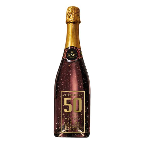 750ml bottle of Rose California Champagne with edible 24 karat gold leaf in the bubbly! Comes with variable speed blinking light imbedded in the bottom of the bottle for an indulgent, glamorous experience. This unique high end sparkling wine is great for executive presents ... promoproducts.com