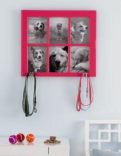 Soporte de correa de perro personalizada! - Personalized dog leash holder! http://shine.yahoo.com/channel/life/easy-diy-picture-frame-project-476833