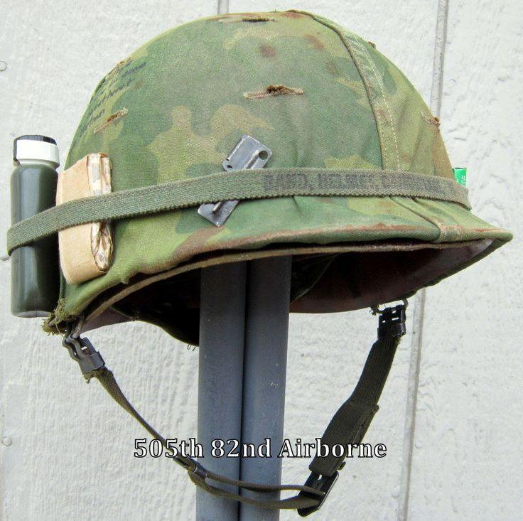 Vietnam M1 Helmet & Liner. Camo Cover Band Graffiti