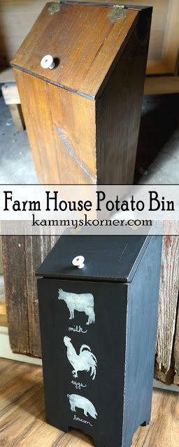 Kammy's Korner: Farm House Country style Potato Bin. Distressed black and white cow, chicken, and pig. (Milk, eggs, bacon)
