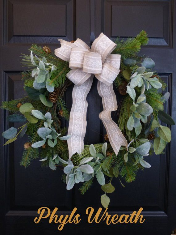 Christmas Lambs Ear Wreath Wreaths For Front Door Pine Holiday Winter Eucalyptus Modern